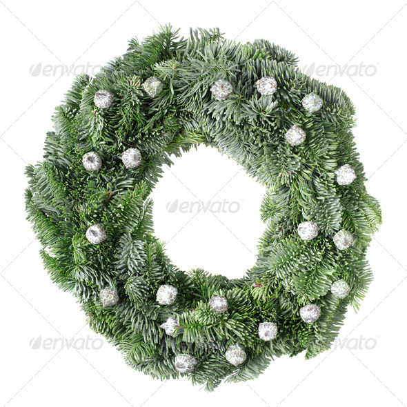 Christmas pine wreath with pine cones on white - Stock Photo - Images