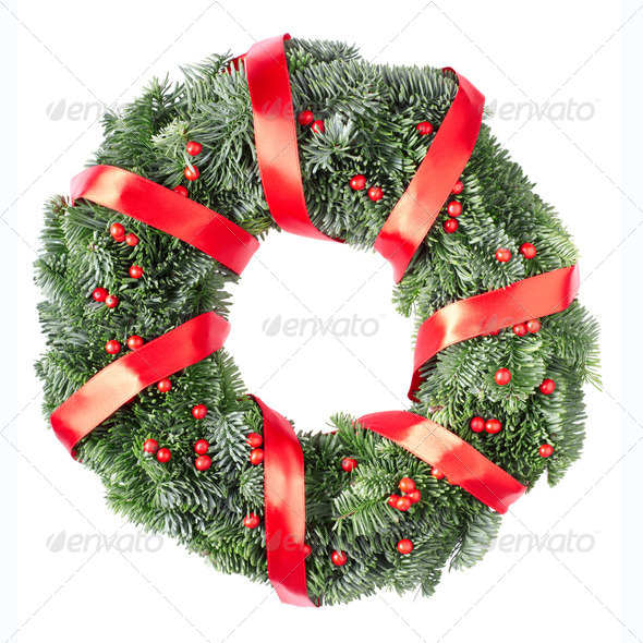 Christmas wreath with red ribbon  - Stock Photo - Images