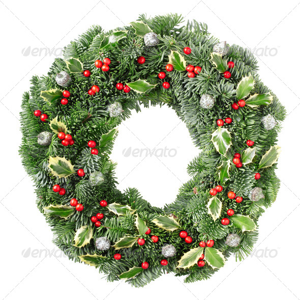 Christmas wreath with holly red berries and leaves - Stock Photo - Images