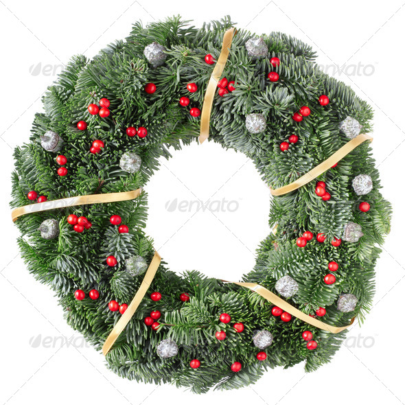Christmas wreath with golden ribbon and red berries - Stock Photo - Images