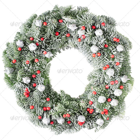 Christmas wreath with frost - Stock Photo - Images
