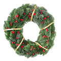 Christmas wreath with golden ribbon and red berries - PhotoDune Item for Sale