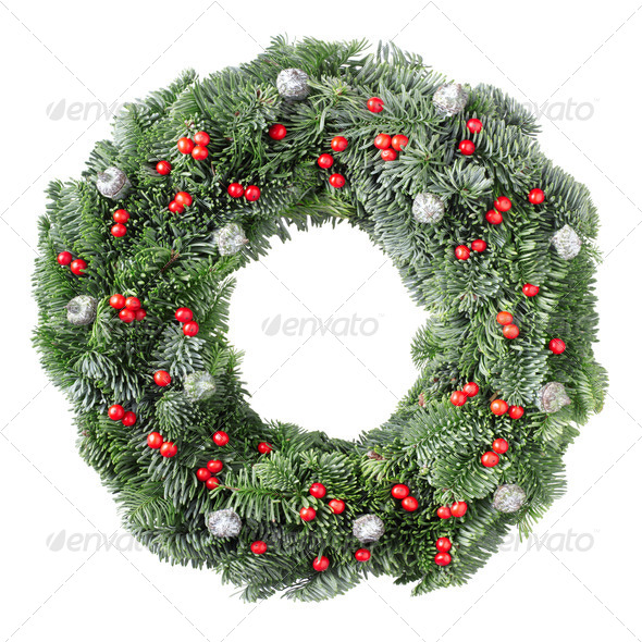 Christmas wreath with red berries - Stock Photo - Images