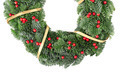 Christmas wreath with golden ribbon and red berries on white - PhotoDune Item for Sale