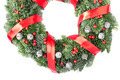 Christmas wreath with red satin ribbon and berries - PhotoDune Item for Sale