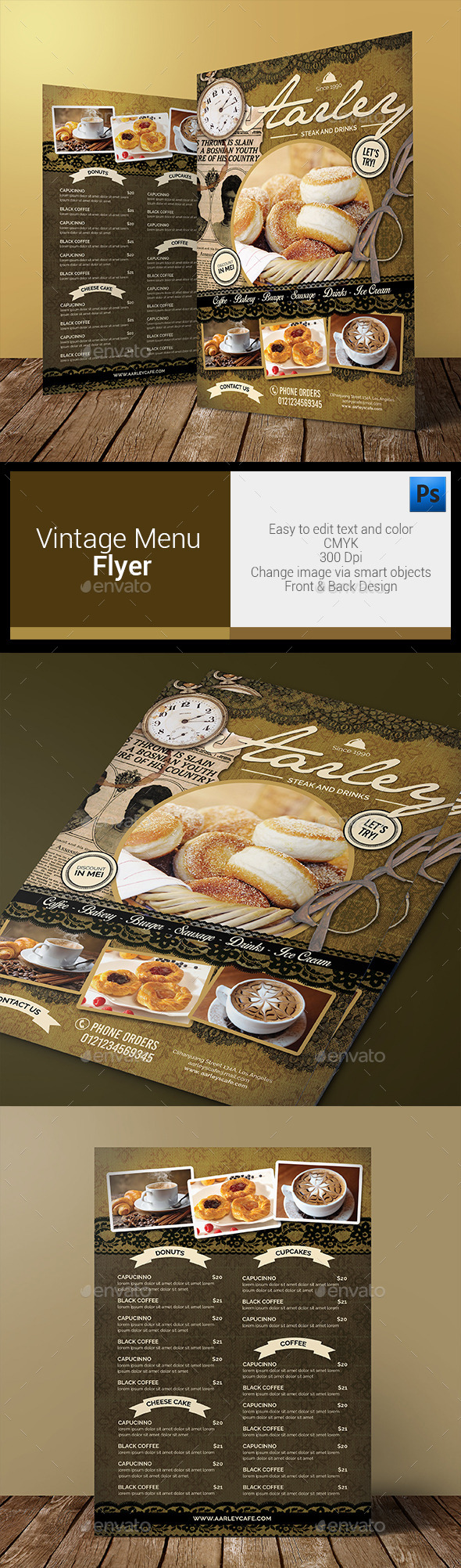 Vintage Menu Flyer - Food Menus Print Templates