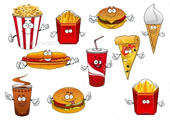 Fastfood and Takeaway Cartoon Characters - Food Objects