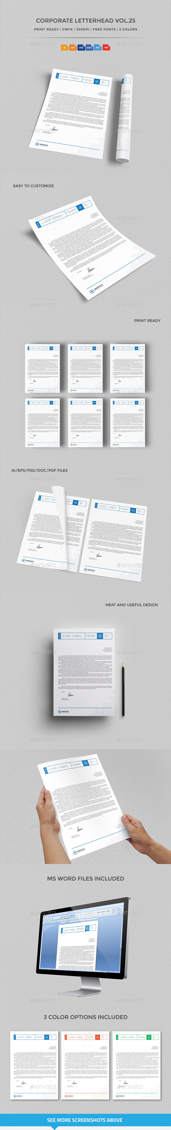 Corporate Letterhead vol.25 with MS Word DOC/DOCX - Stationery Print Templates