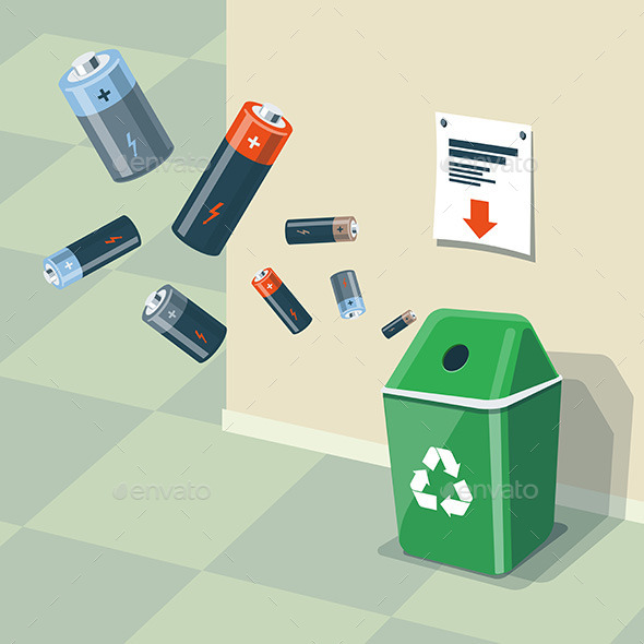 Used Batteries Recycling Bin Trash - Miscellaneous Characters
