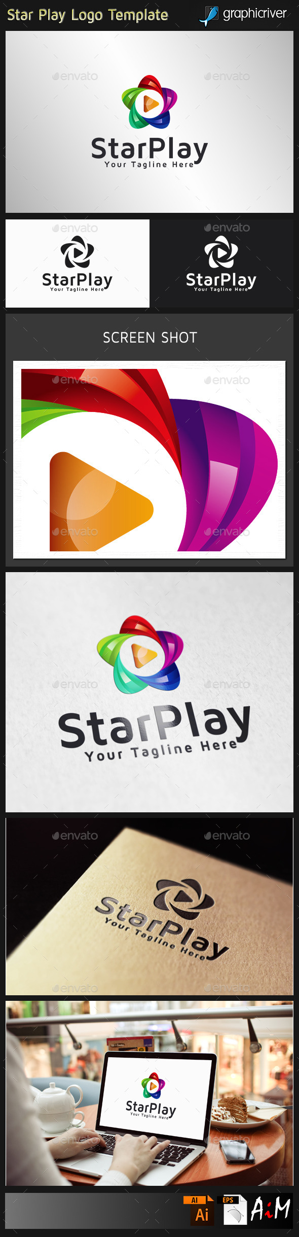 Star Play logo - 3d Abstract