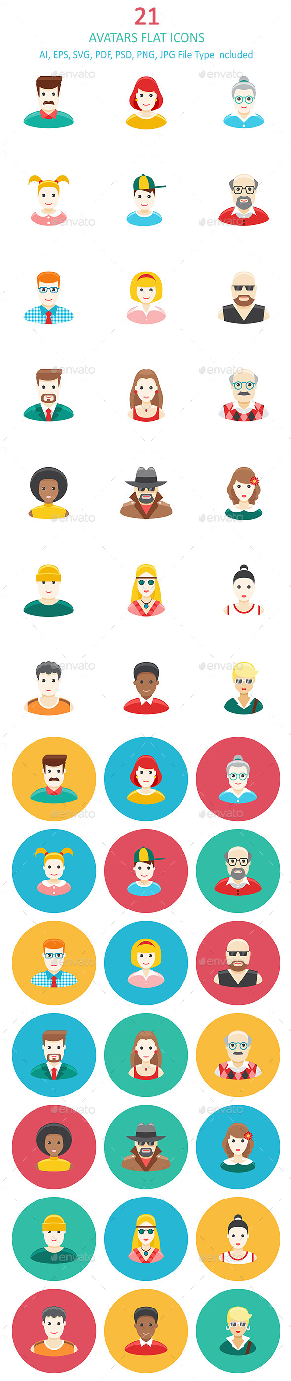 Avatars Flat Icons - People Characters