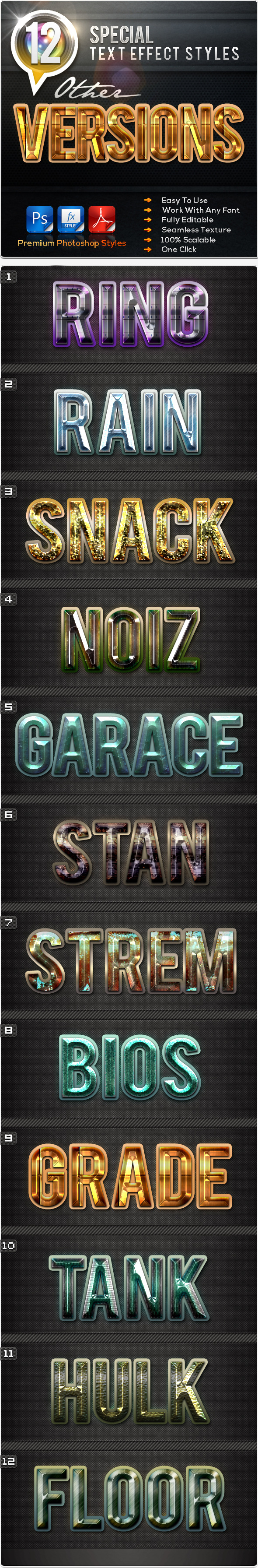 12 Special Other Versions - Text Effects Styles