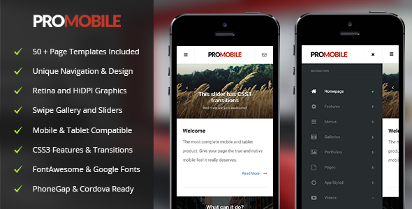 Pro Mobile | Mobile Template - Mobile Site Templates