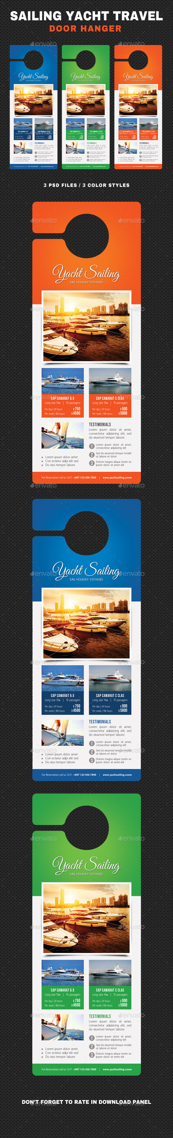 Sailing Yacht Travel Door Hanger V02 - Events Flyers