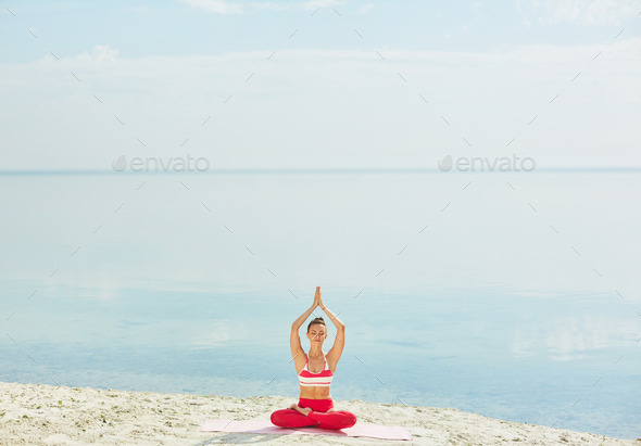 Exercising by water - Stock Photo - Images