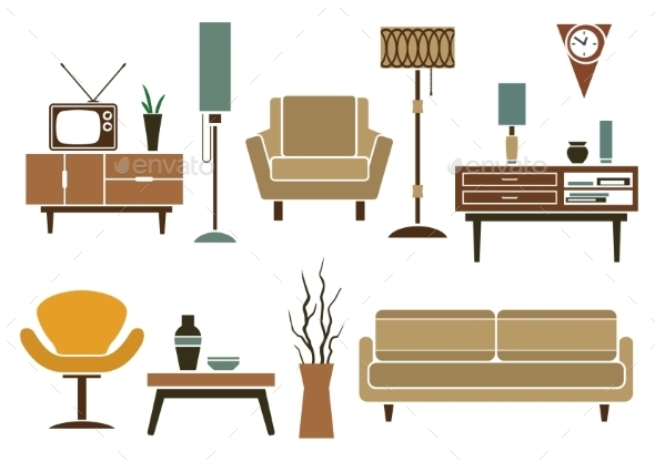 Retro Flat Furniture and Interior Icons - Man-made Objects Objects