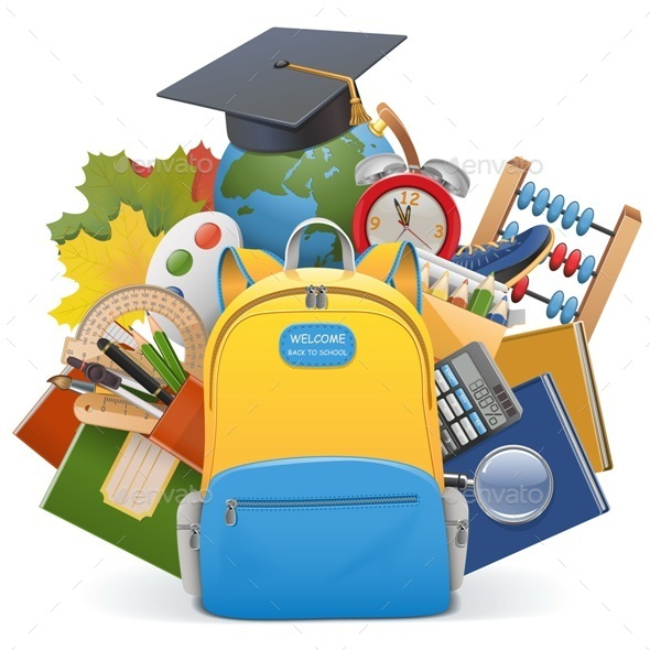 School Concept with Backpack - Miscellaneous Vectors