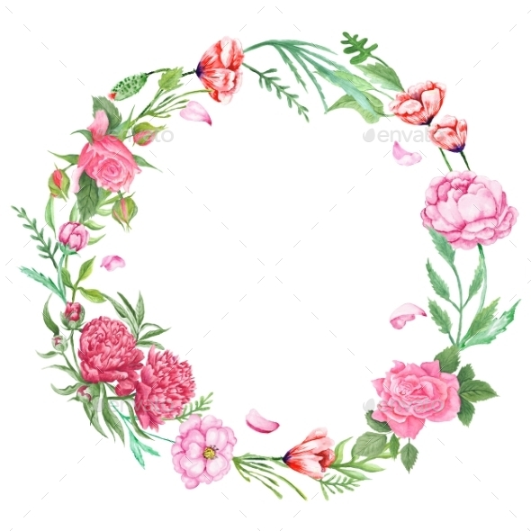 Shabby chic floral wreath by kisika graphicriver for Couronne shabby chic