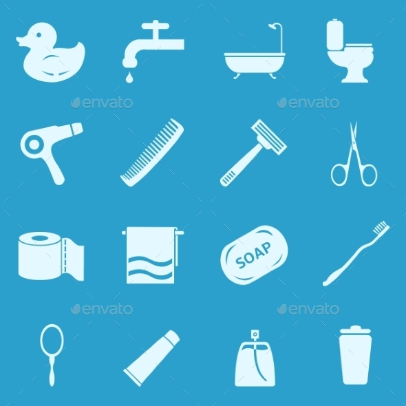 Vector Set Of Bathroom And Hygiene Icons. - Man-made objects Objects