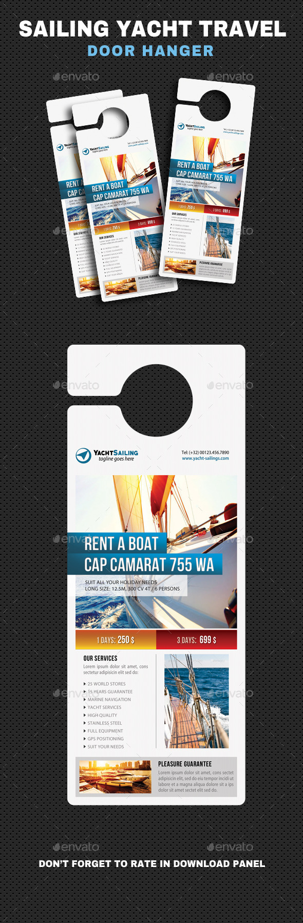 Sailing Yacht Travel Door Hanger V03 - Events Flyers