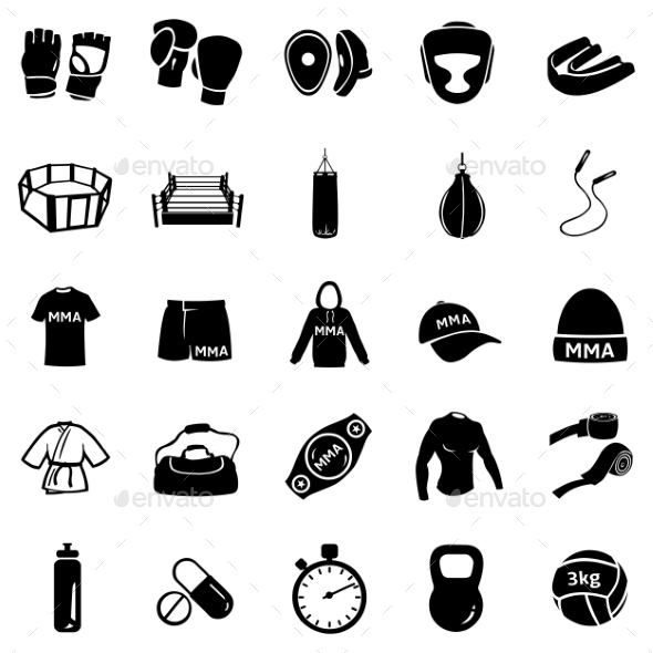 Set of Mix Martial Arts Icons - Sports/Activity Conceptual