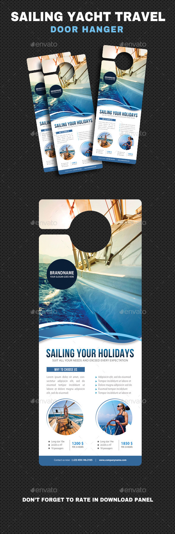 Sailing Yacht Travel Door Hanger V04 - Miscellaneous Print Templates