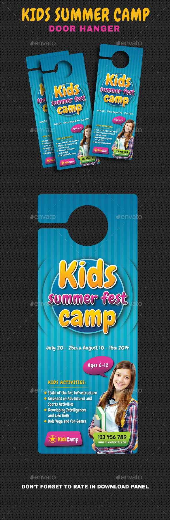 Kids Summer Camp Door Hanger V01