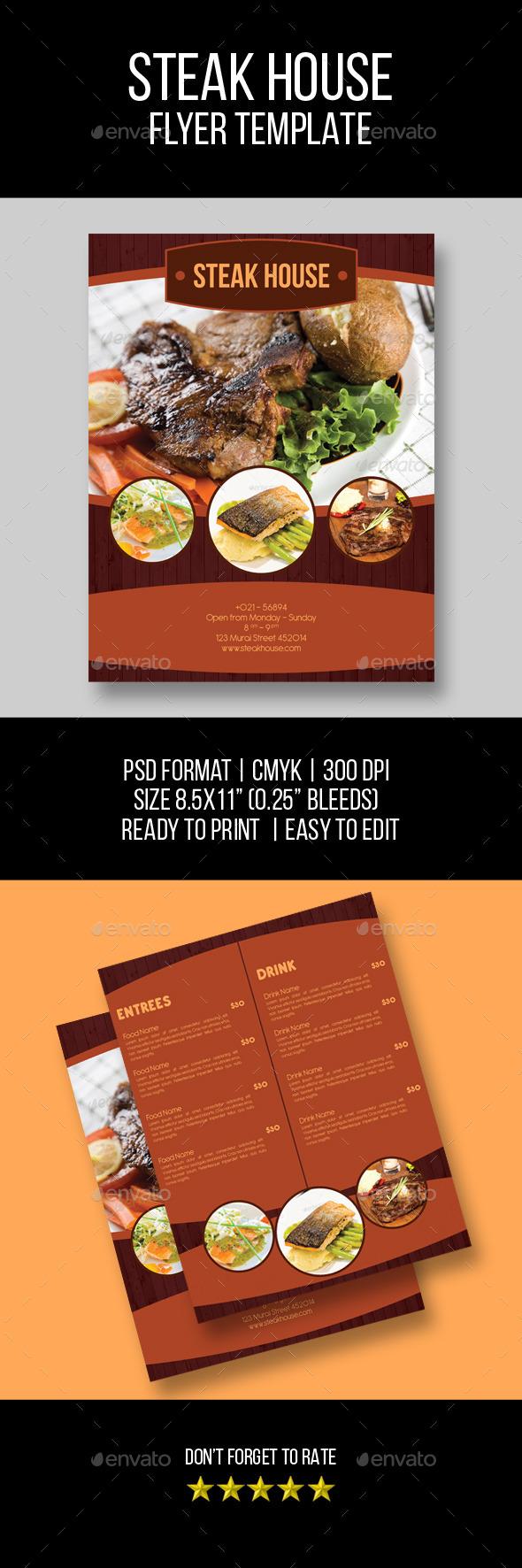 Steak Menu Flyer Template - Food Menus Print Templates