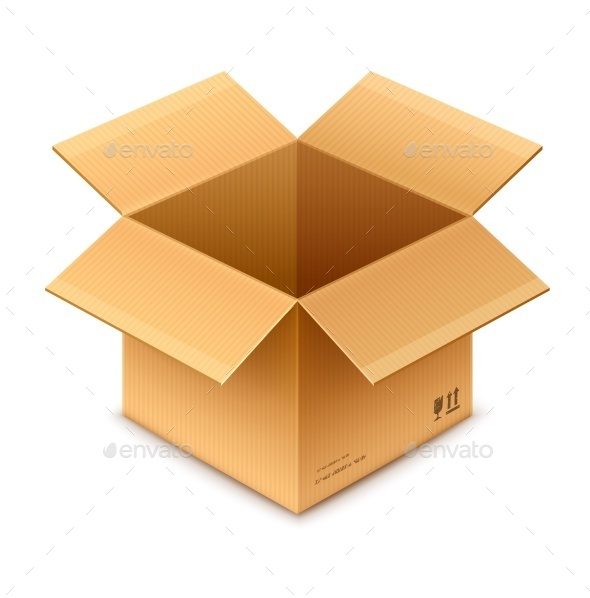 Open Box Cardboard Package Isolated  - Man-made Objects Objects