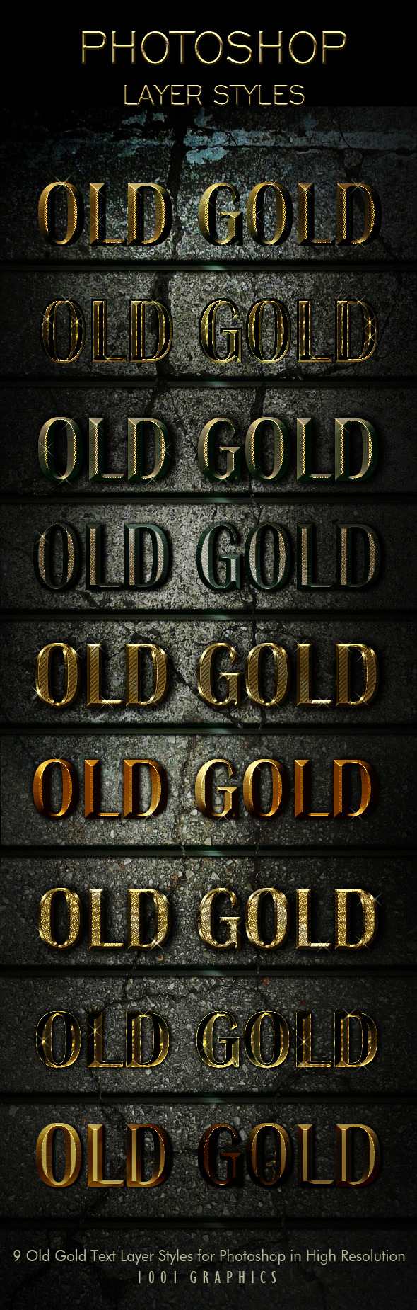 9 Old Gold Text Effects Styles ASL - Photoshop Add-ons