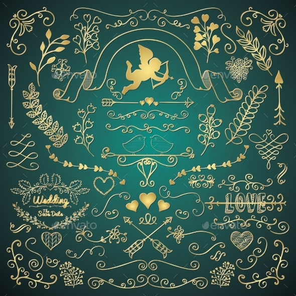 Golden Hand Sketched Rustic Floral Design Elements