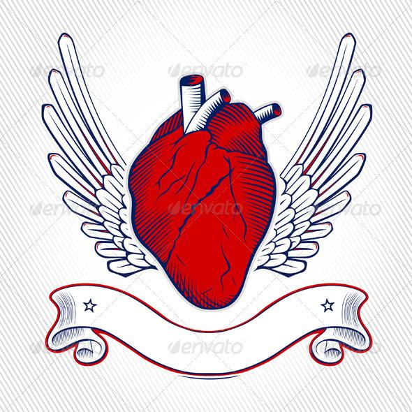 Wing Heart Emblem  - Decorative Symbols Decorative