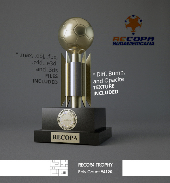 Recopa Sudamericana Trophy 3D Model - 3DOcean Item for Sale