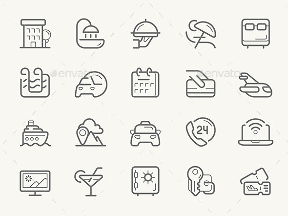Hotel Services Line Icons - Travel Conceptual