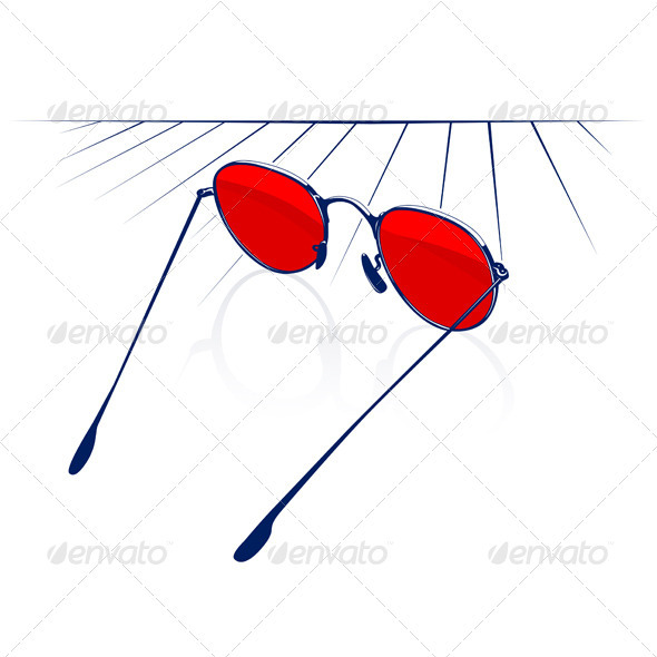 Stylish Red Sunglasses Icon - Man-made Objects Objects