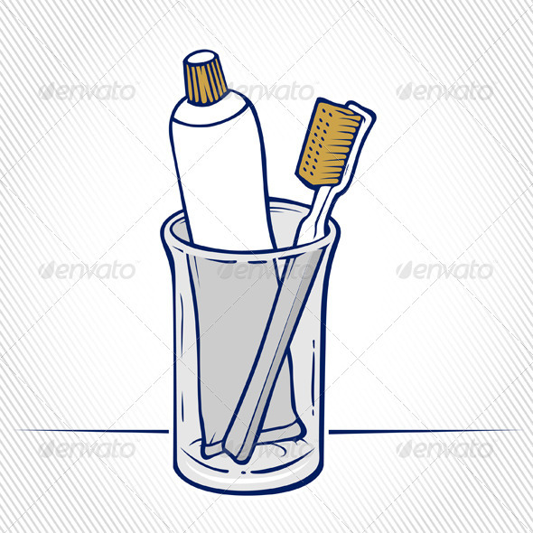 Toothbrush With Tube Of Toothpaste In a glass - Health/Medicine Conceptual
