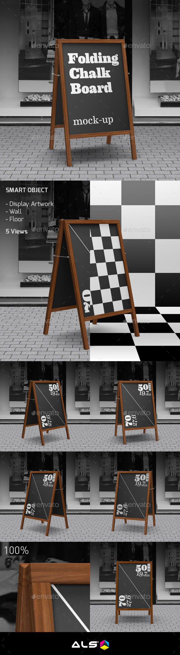 Folding Chalkboard Mock-Up - Signage Print