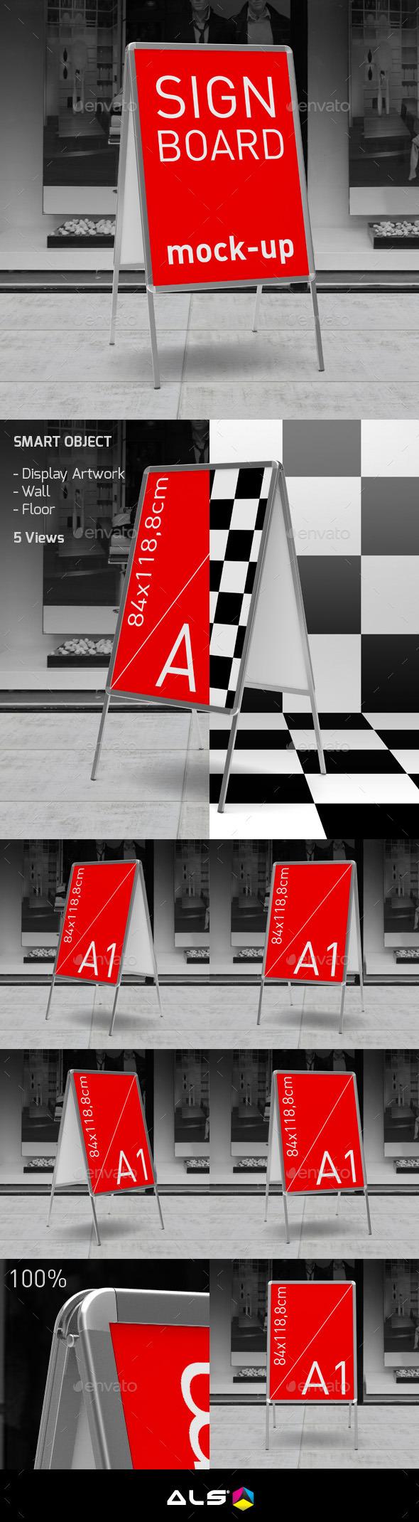 Sign Board Display Mock-up - Signage Print