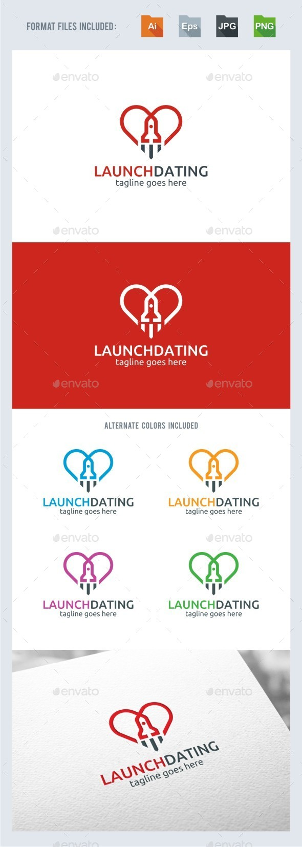 Rocket Love Logo Template - Vector Abstract