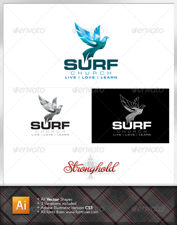 Surf Church Logo - Animals Logo Templates