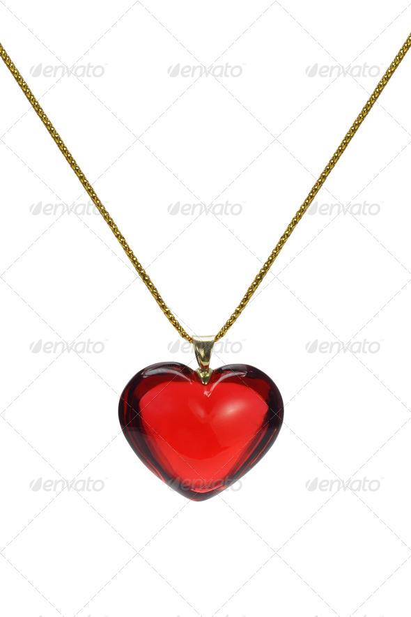 Love heart shape gemstone pendant - Stock Photo - Images