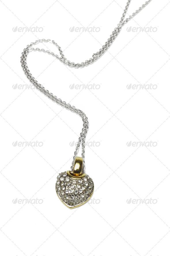 Heart shaped gemstones necklace - Stock Photo - Images