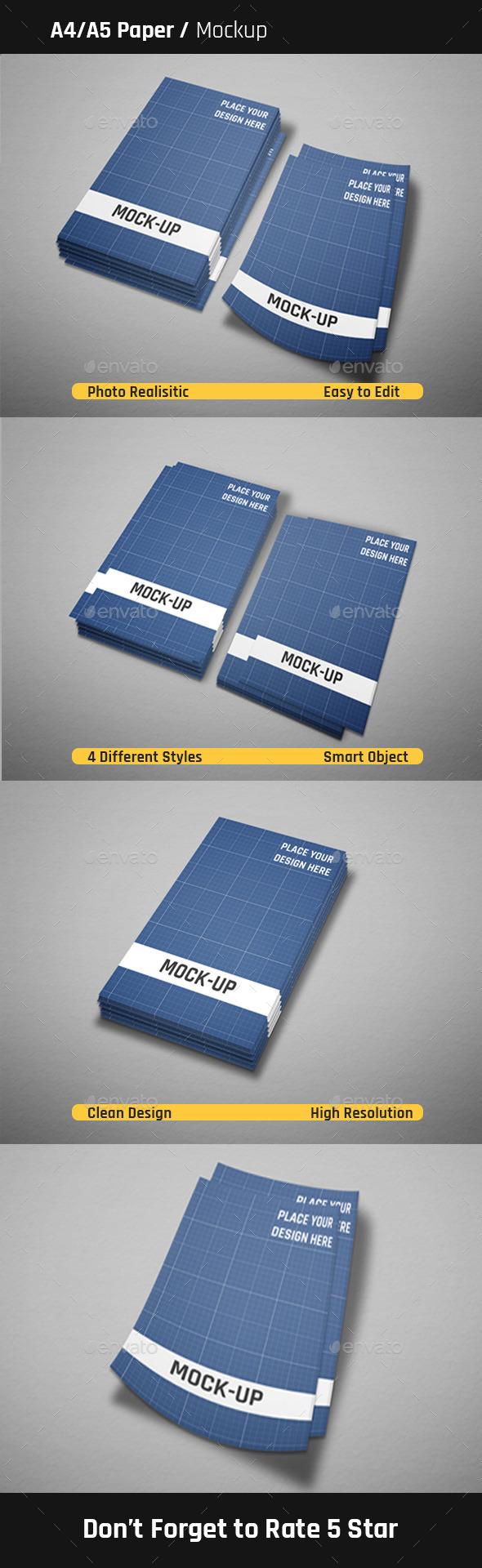 A4/ 45 Paper Mock-Ups - Flyers Print