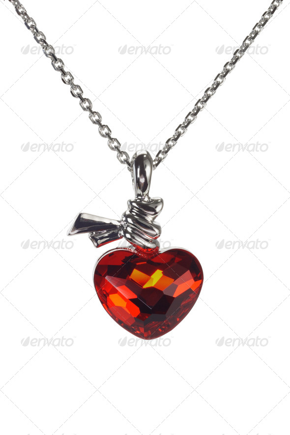 Red heart shaped gemstone necklace - Stock Photo - Images