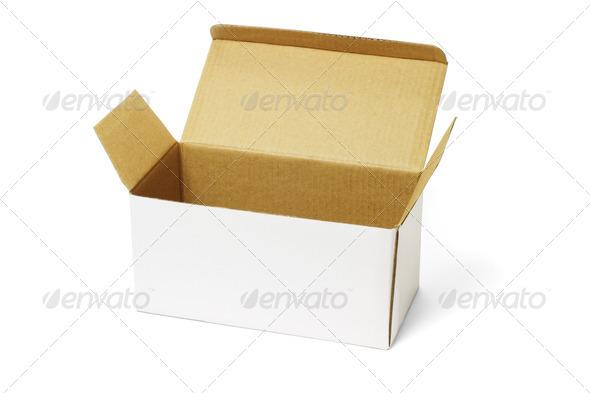 Open white carton box - Stock Photo - Images