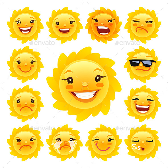 Cartoon Sun Caracter Emoticons Set - Seasons Nature