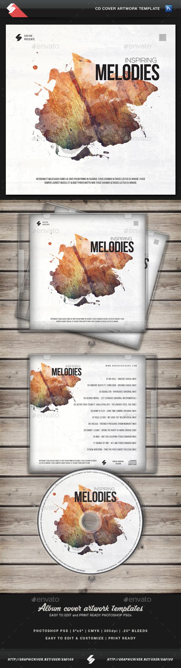 Inspiring Melodies - CD Cover Artwork Template - CD & DVD Artwork Print Templates