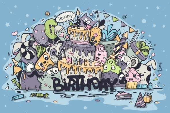 Greeting Card for Birthday Party with Doodles - Birthdays Seasons/Holidays
