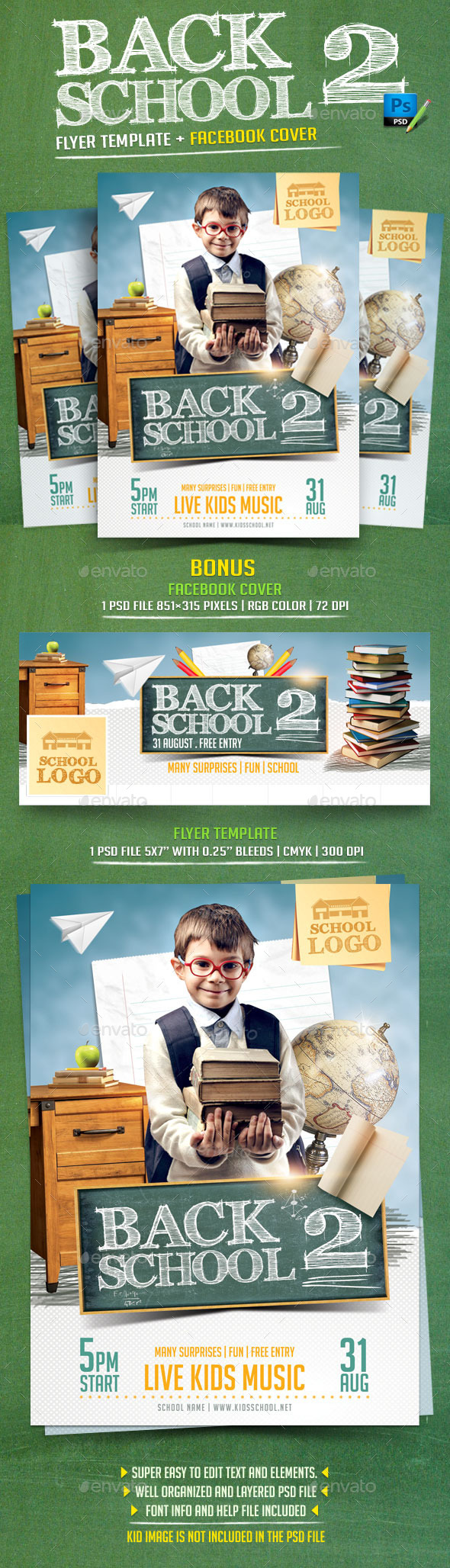 Back to School Flyer Template v2 - Events Flyers