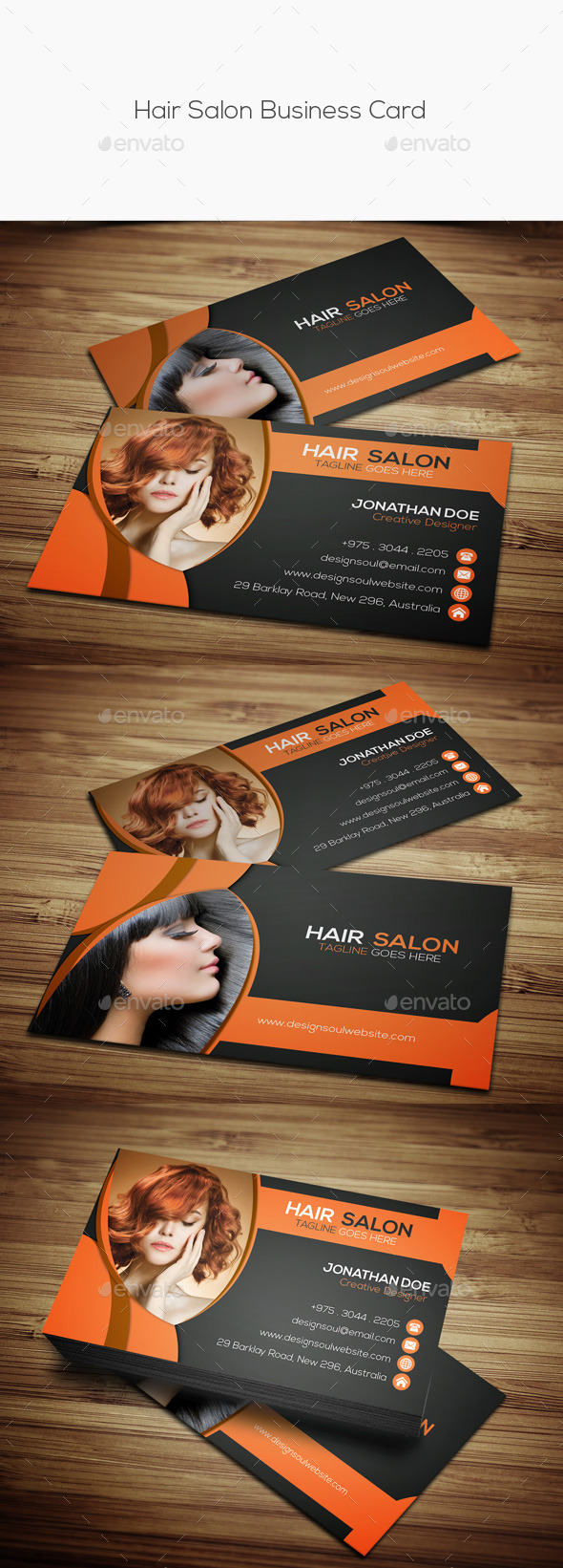 Hair Salon Business Card Templates By Designsoul GraphicRiver - Hair salon business card template